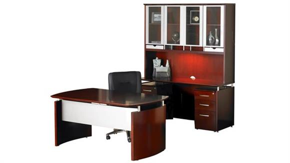 "Executive Desks Mayline Office Furniture 63"" Napoli Desk with Double Pedestal Credenza and Hutch"