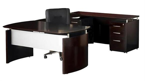 "U Shaped Desks Mayline Office Furniture 63""W U Shaped Napoli Desk, Bridge, Credenza with Pedestal"