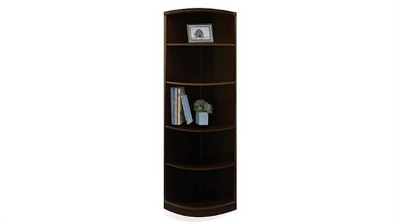 Bookcases Mayline Office Furniture 5 Shelf Quarter Round Bookcase