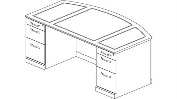 "Executive Desks Mayline Office Furniture 72"" Double Pedestal Bow Front Desk"