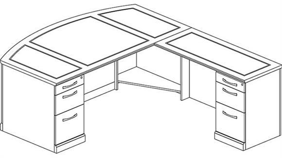 L Shaped Desks Mayline Office Furniture Double Pedestal L Shaped Bow Front Desk