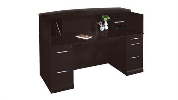 "Reception Desks Mayline Office Furniture 72"" Reception Desk with Veneer Counter"