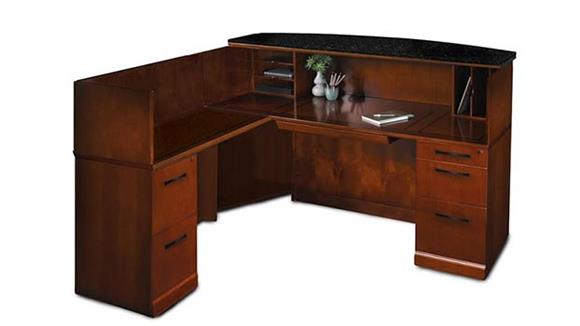 Reception Desks Mayline Office Furniture L Shaped Reception Desk with Granite Counter
