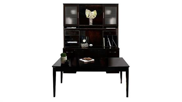 """Writing Desks Mayline Office Furniture 72"""" Table Desk with Double Pedestal Credenza and Hutch"""