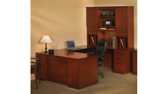 U Shaped Desks Mayline Office Furniture Double Pedestal U Shaped Desk with Hutch