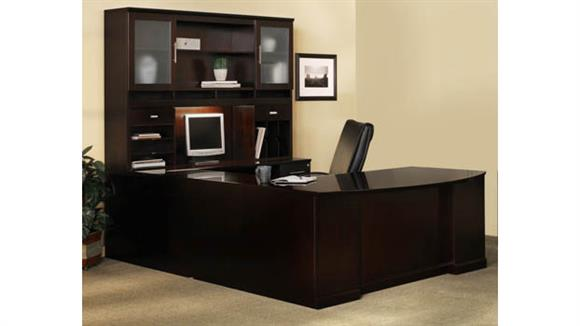 U Shaped Desks Mayline Office Furniture Double Pedestal U Shaped Bow Front Desk with Hutch
