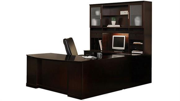 U Shaped Desks Mayline Office Furniture Double Pedestal U Shaped Bow Front Desk with Hutch