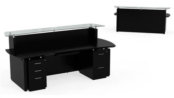 "Reception Desks Mayline Office Furniture 96"" Double Pedestal Reception Desk"