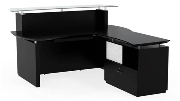 "Reception Desks Mayline Office Furniture 72"" L Shaped Reception Desk"