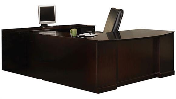 U Shaped Desks Mayline Office Furniture Double Pedestal U Shaped Bow Front Desk