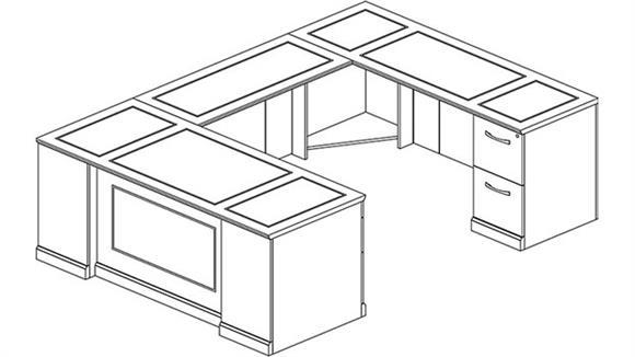 U Shaped Desks Mayline Office Furniture Double Pedestal U Shaped Desk