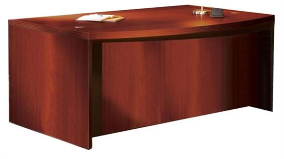 "Executive Desks Mayline Office Furniture 66"" Double Pedestal Bow Front Desk"