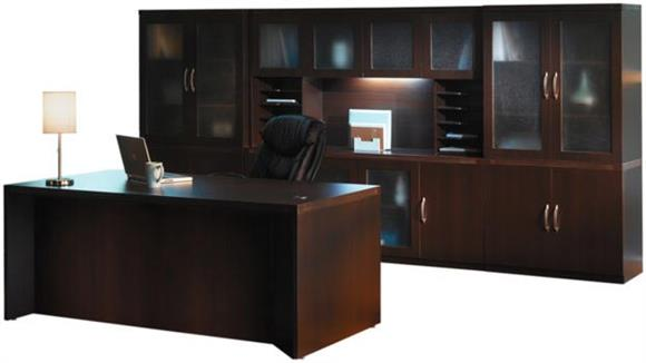 "Executive Desks Mayline Office Furniture 72"" Conference Front Desk with Additional Storage"