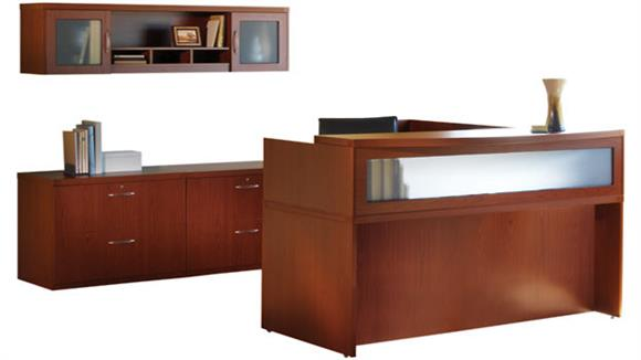 Reception Desks Mayline Office Furniture L Shaped Reception Desk with Additional Storage