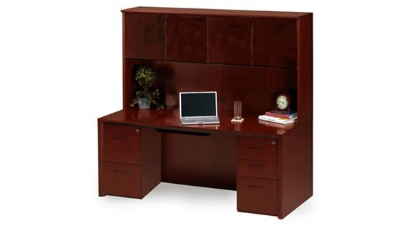 """Office Credenzas Mayline Office Furniture 72"""" Wood Credenza with Hutch"""