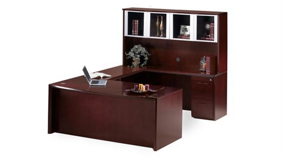 "U Shaped Desks Mayline Office Furniture 72"" Bow Front U Shaped Desk with Hutch"