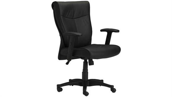 Office Chairs Mayline Black Leather Conference Chair with Adjustable Arms