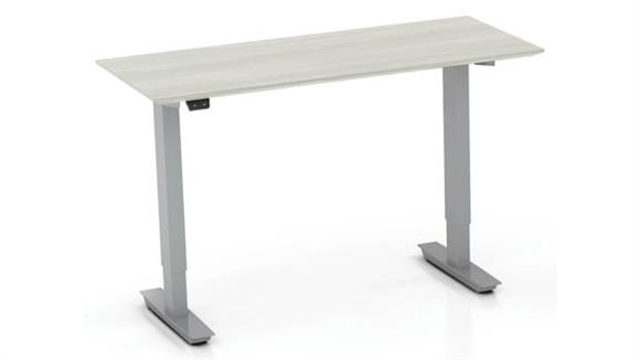 "Adjustable Height Desks & Tables Mayline 48"" Non-Handed Straight Bridge with 2-Stage Height-Adjustable Base"
