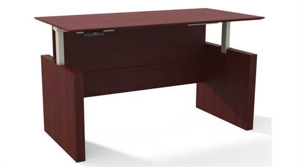 "Adjustable Height Desks & Tables Mayline Height-Adjustable 63"" Straight Front Desk"