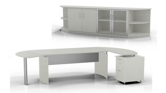 """Executive Desks Mayline 72"""" Desk with Return and Low Wall Cabinet"""