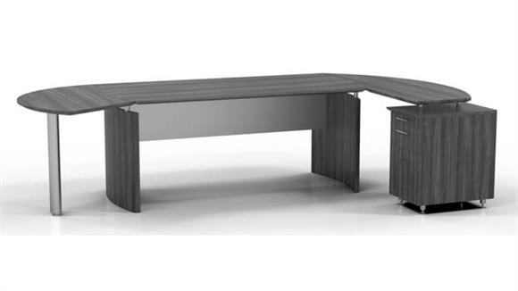 """Executive Desks Mayline 63"""" Desk with Return and Extension"""