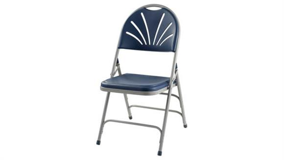 Folding Chairs National Public Seating Polyfold Fan Back Chair with Triple Brace Double Hinge