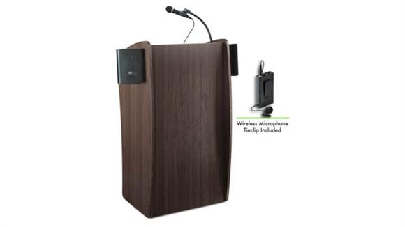 Podiums & Lecterns National Public Seating Lectern with Sound & Wireless Tie Clip/Lavalier Mic