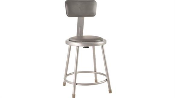 """Kitchen Stools National Public Seating 18""""H Padded Stool with Backrest"""