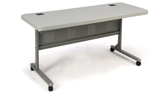 "Training Tables National Public Seating 60"" x 24"" Flip and Store Training Table"