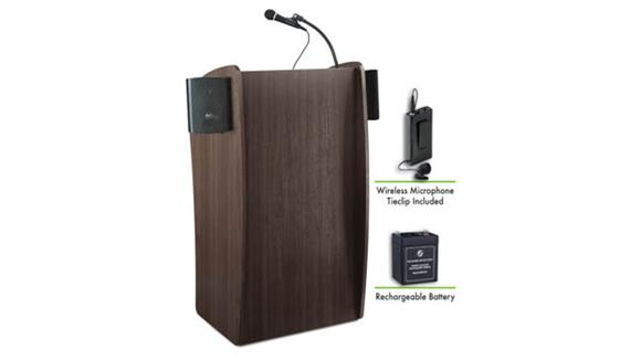 Podiums & Lecterns National Public Seating Lectern with Sound, Recharge Battery, Wireless Clip Mic