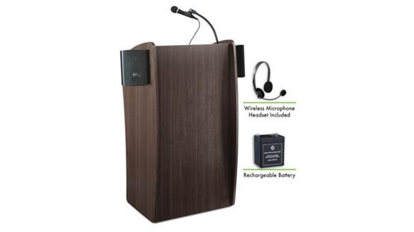 Podiums & Lecterns National Public Seating Lectern with Sound, Recharge Battery, Wireless Headset Mic