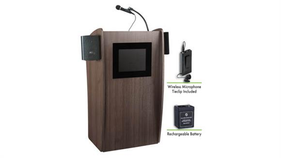 Podiums & Lecterns National Public Seating Lectern with Sound & Screen, Recharge Battery, TieClip Mic