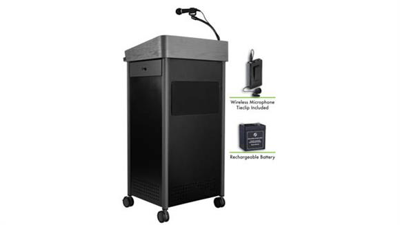 Podiums & Lecterns National Public Seating Lectern with Sound, Rechargeable Battery, Wireless Tie Clip Mic