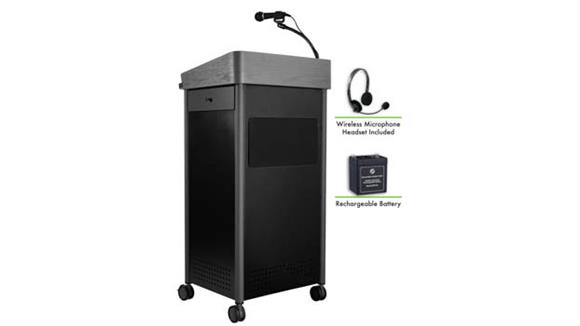 Podiums & Lecterns National Public Seating Lectern with Sound, Rechargeable Battery, Wireless Headset Mic