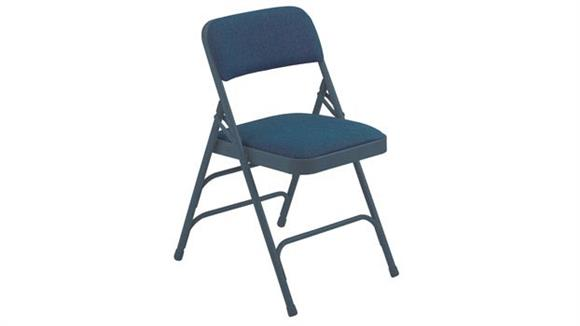Folding Chairs National Public Seating Fabric Upholstered Premium Folding Chair with Triple Brace Double Hinge