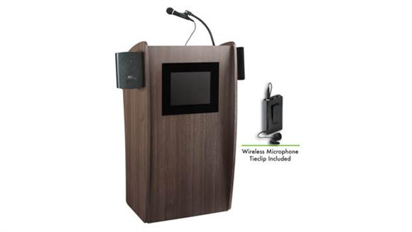 Podiums & Lecterns National Public Seating Lectern with Sound & Screen & Wireless Tie Clip Mic
