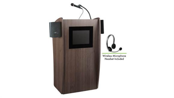 Podiums & Lecterns National Public Seating Lectern with Sound & Screen & Wireless Headset Mic