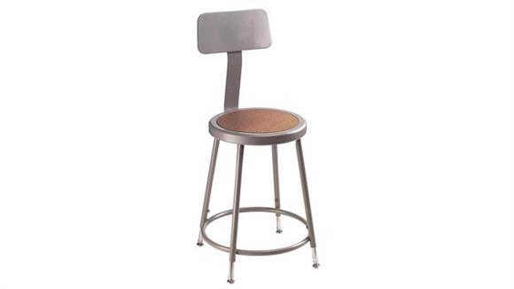 "Kitchen Stools National Public Seating 19""- 27""H Adjustable Stool with Backrest"