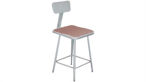 """Kitchen Stools National Public Seating 19""""-27"""" Adjustable Height Square Sool with Backrest"""
