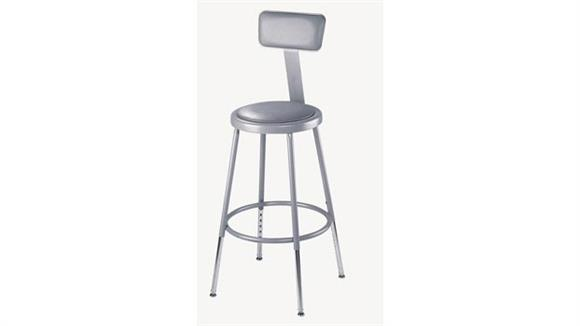 "Kitchen Stools National Public Seating 31""-39"" Adjustable Height Padded Stool with Backrest"