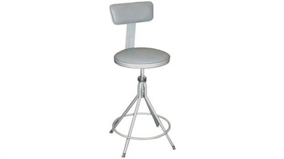 "Kitchen Stools National Public Seating 24""-28"" Adjustable Height Swivel Stool with Backrest"