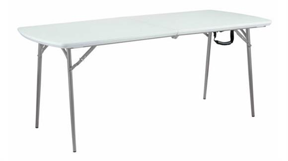 "Folding Tables National Public Seating Blow Molded Plastic Fold In Half Table 30"" x 72"""