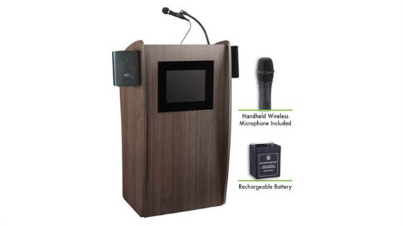 Podiums & Lecterns National Public Seating Lectern with Sound & Screen, Recharge Battery, Handheld Mic