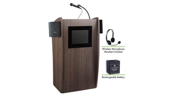 Podiums & Lecterns National Public Seating Lectern with Sound & Screen, Recharge Battery, Headset Mic