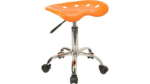 Drafting Stools Innovations Office Furniture Vibrant Orange Tractor Seat And Chrome Stool