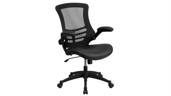 Office Chairs Innovations Office Furniture Mid-Back Mesh Swivel Chair with Leather Seat