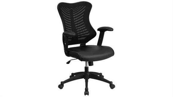 Office Chairs Innovations Office Furniture High-Back Swivel Chair with Leather Seat and Adjustable Arms