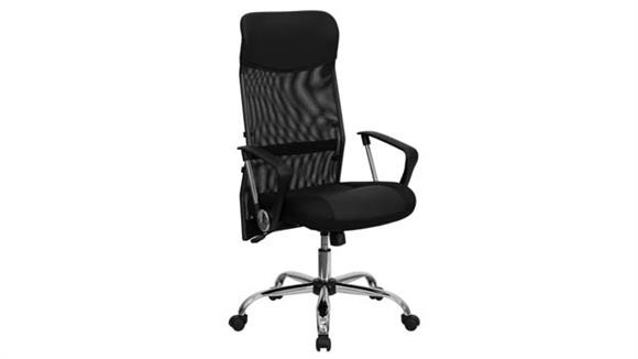 Office Chairs Innovations Office Furniture High-Back Leather and Mesh Executive Swivel Chair with Arms