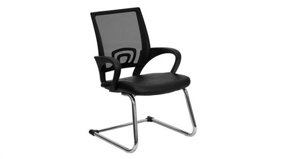Side & Guest Chairs Innovations Office Furniture Mesh Back Leather Reception Chair
