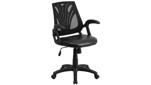 Office Chairs Innovations Office Furniture Mid-Back Mesh Swivel Chair with Leather Seat & Arms
